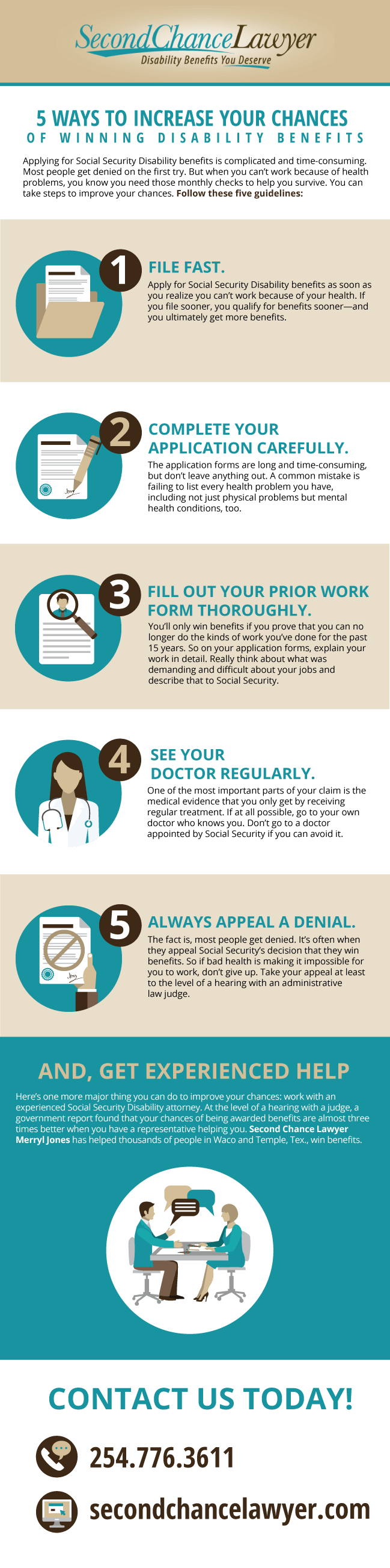 how to improve you chances of winning disability benefits infographic